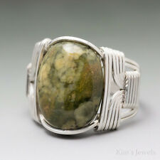 Rainforest Jasper Sterling Silver Wire Wrapped Cabochon Ring