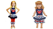 "AnnLoren 4th Of July Independence Day Nautical Crab Girl Set + 18"" Doll Outfit"