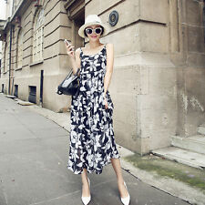 Sexy Womens Floral Square Collar Sleeveless Dress Boho Beach Chiffon Long Dress