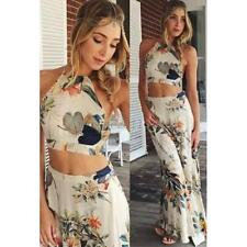 2 Piece Set Women Sleeveless Dress Halter Backless Crop Top+Long Maxi Skirt Sexy