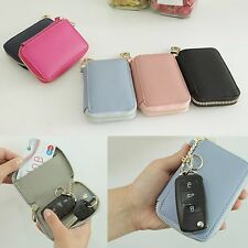 Genuine Leather Zip Smart Remote Auto Car Key Fob Case Holder Wallet Purse Cover
