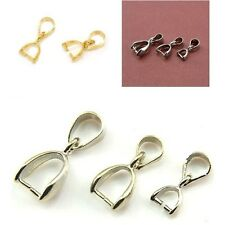 50pcs Silver/Golden/Dull Silver Pinch Clip Bail Beads Findings Size Optional