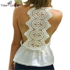 Sexy Crocheted Lace Spaghetti Strap Backless Flounced Caged Cami Tank Top Blouse