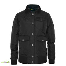 Voi Black Jacket Mens Quilted Barber Style Coat Diverse Small Medium Cheap Sale