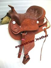 """Western Leather TAN saddle 15"""",16"""" & 17"""" ( WITH SILVER FITTING)"""