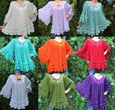 V-Neck Assorted Hippie Gauze Mexican Cotton Blouse 60's Retro Vintage Inspired