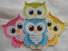 UNIQUE OWL SHAPED PERSONALIZED BABY SHOWER PARTY FAVOR PREDICTION CARD GAME