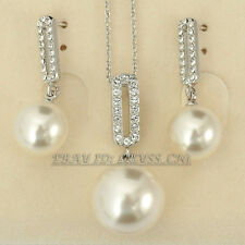 Fashion White Pearl Earrings & Necklace Jewelry Set 18KGP Crystal Rhinestone