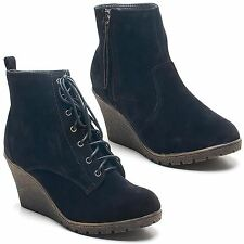 Womens Ladies Faux Suede High Wedge Heel Lace Up Shoes Zip Up Ankle Boots Size