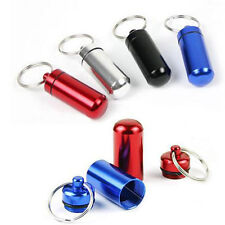 Waterproof Case Bottle Aluminum Pill Box Drug Holder Container Capsule Keychain