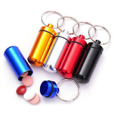 Waterproof Case Bottle Mini Aluminum Pill Box Holder Container Capsule Keychain
