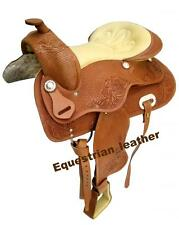 """Western Leather saddle 15"""",16"""" & 17"""" Natural Colour with carving and tooling"""