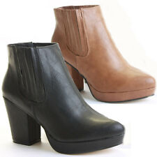 Ladies Block Shoes Heeled Booties Mid Heel Platform Chelsea Ankle Boots Size