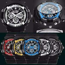 Waterproof Date Week Silicone Digital LED Alarm Mens Sport Military Wrist Watch