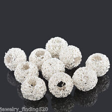 Lots Wholesale Silver Plated Hollow Twist Ball Wire Beads 18x16mm