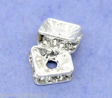 Lots Wholesale Silver Plated Rhinestone Square Spacer Beads 6x6mm