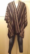 Aztec Print Navy Open Front Sweater Cardigan Mexican Poncho Cape One Size NWT
