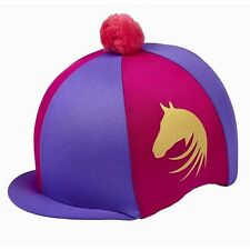 Lycra Riding Skull Cap Covers  XC Hat Silk Ass Colours Gold Horse Motif & Pompom