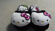 NWT Hello Kitty Plush Black/White/Multi-Color Girl's Slippers - Sizes 10/11-3/4