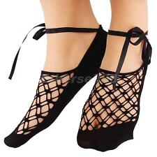 Fashion Solid Color Ladies Summer Lace Cross Invisible Elastic Boat Socks Women