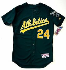 RICKEY HENDERSON OAKLAND ATHLETICS AUTHENTIC MLB MAJESTIC GREEN JERSEY
