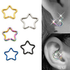 Star Shape Surgical Steel Earring Nose Ring Piercing Nipple Tragus Hoop Ring New