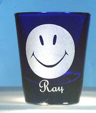 Smiley Face Engraved Shot Glass Personalized with name under design
