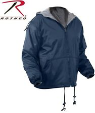 Navy Blue Reversible Fleece Lined Jacket Military Hooded Nylon Coat 8263