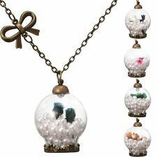 Wish Glass Bottle With Pearl Pendant Bronze Chain with Bow Dried Flower Necklace