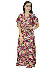 Bimba Women Bohemian Kaftan Nightgown Dress Long Rayon Maxi Caftan