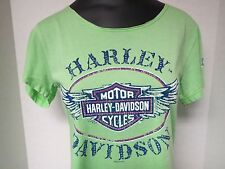 R001889 Women's Harley-Davidson Dusty Studded Winged B&S Green S/S T-Shirt