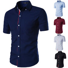 Mens Buttondown Slim Fit Dress Shirt Summer Business Plain Short Sleeve Shirts