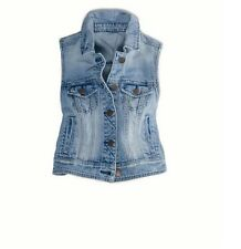 NEW American Eagle Outfitters Womens Cropped Denim Jean Vest Jacket Light Wash