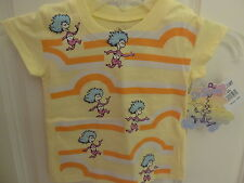"""NWT Dr.Seuss Toddler Girls """"Thing 1 & Thing 2"""" Yellow Short Sleeve Tee - 2T-4T"""
