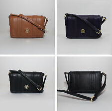 NEW TORY BURCH Landon Mini Pebbled Leather Crossbody Purse Black Brown Purple