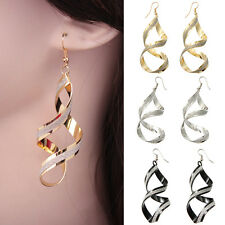 2x Women Vintage Retro Spiral Twist Stud Earrings Lady Plated Jewelry Club Party