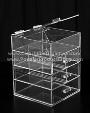 Acrylic Clear Cube Makeup Organizer w/Drawers Display