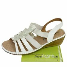 LADIES WHITE STRAPPY ELASTIC WEDGE COMFORT WIDE FIT EEE SANDALS SHOES UK 4-9