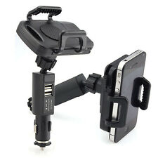 Dual USB Car Vehicle Cigarette Lighter Mount Holder Stand Charger For Cellphones