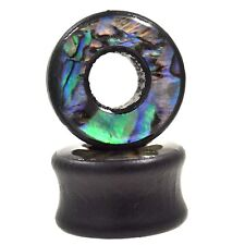 PAIR - WOOD & ABALONE SHELL DOUBLE FLARED EAR TUNNELS PLUGS GAUGES (10mm-25mm)