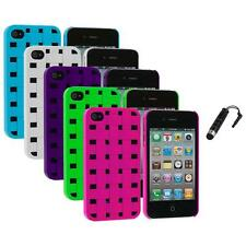 Color Basket Weave Hard Snap-On Rubberized Case+Stylus Plug for iPhone 4 4S 4G