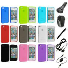 Color TPU Plain Rubber Jelly Skin Case+Accessories for iPhone 4S 4G 4 Accessory