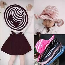Summer Girls Kids Baby Children Cap Stripe Bow Hats Caps Beach Sun Wide Brim Hat