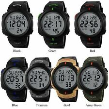 Fashion Waterproof Men Boy LCD Digital Stop watch Date Rubber Sport Wrist Watch