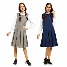 Girls School Uniform School Wear Sleeveless Zip Front Pleated Pinafore Dress