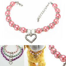 Hot Heart Pendant Shiny Faux Pearl Necklace Collar For Pet Dog Cat