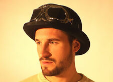 New Steampunk English Cyber Victorian Brown Quality Bowler Derby Hat & Goggles