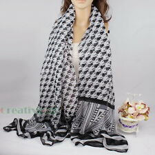 Fashion Women's Houndstooth Pattern Print Long Shawl Scarf Cover-up Wrap Sarong