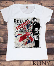 Women's White T-Shirt Banksy Follow Your Dreams Cancelled  Graffiti Print TS168