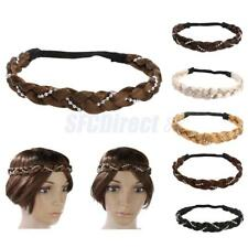 Women Girls Braided Wig Fishtail Elastic Rope Pretty Pearl Hair Band Headband